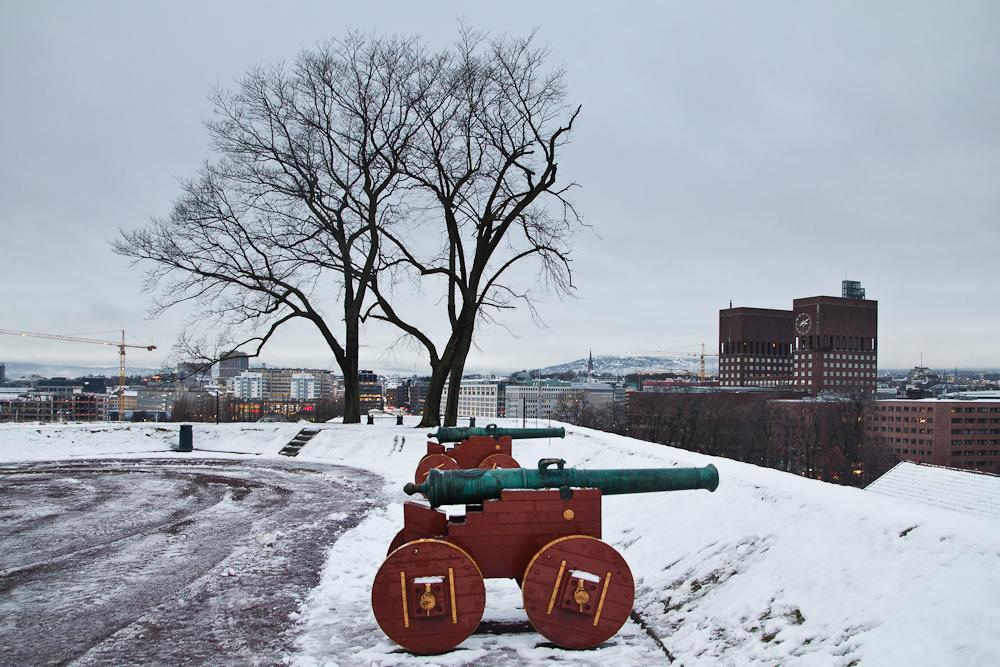 Kanonen Festung Akershus auf Innenstadt Oslo