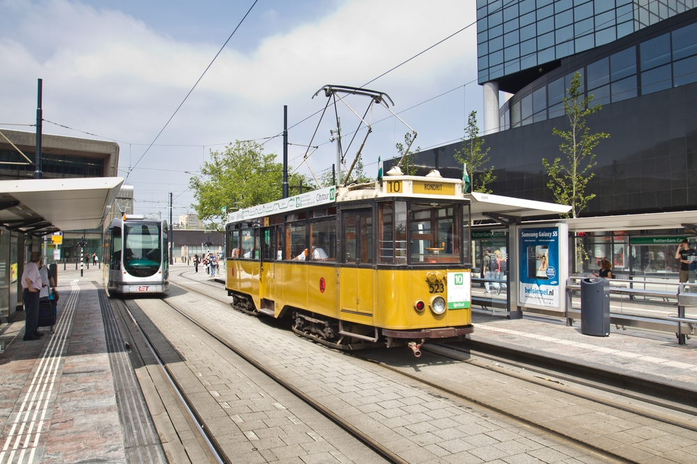Innenstadt Hauptbahnhof Rotterdam Tram