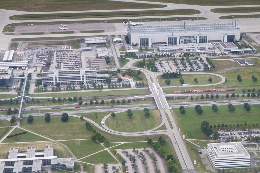 Luftbild S-Bahn München Flughafen Airport