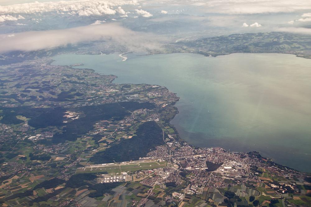 Bodensee Friedrichshafen Luftbild Rheinmündung Lindau