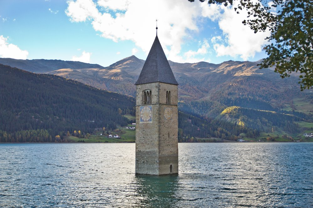 Kirchturm Reschensee Reschenpass