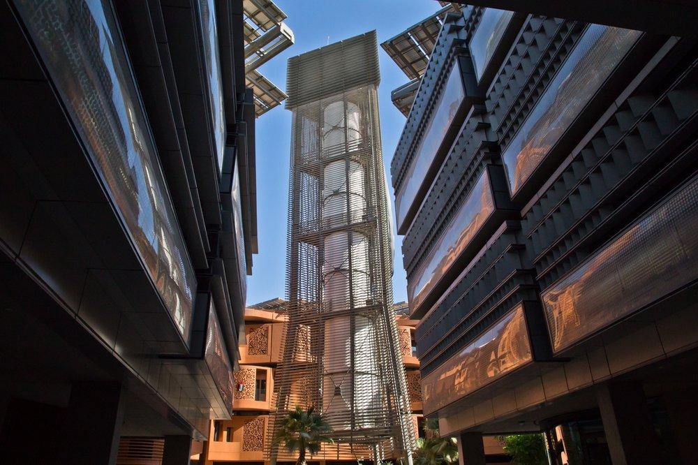 Windturm Masdar City Abu Dhabi UAE