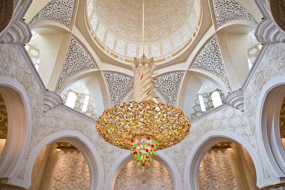 Interieur Sheik Zayid Moschee Abu Dhabi