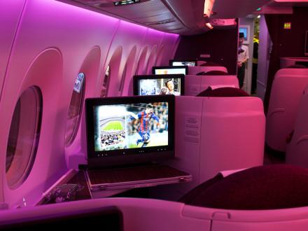Airbus A350 by night Qatar Airways