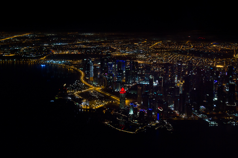 Doha Skyline Qatar Airways