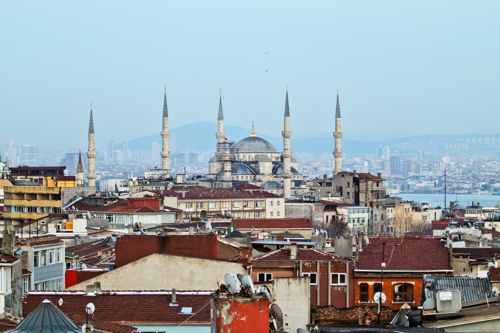 Blaue Moschee Sonnenuntergang Bosporus