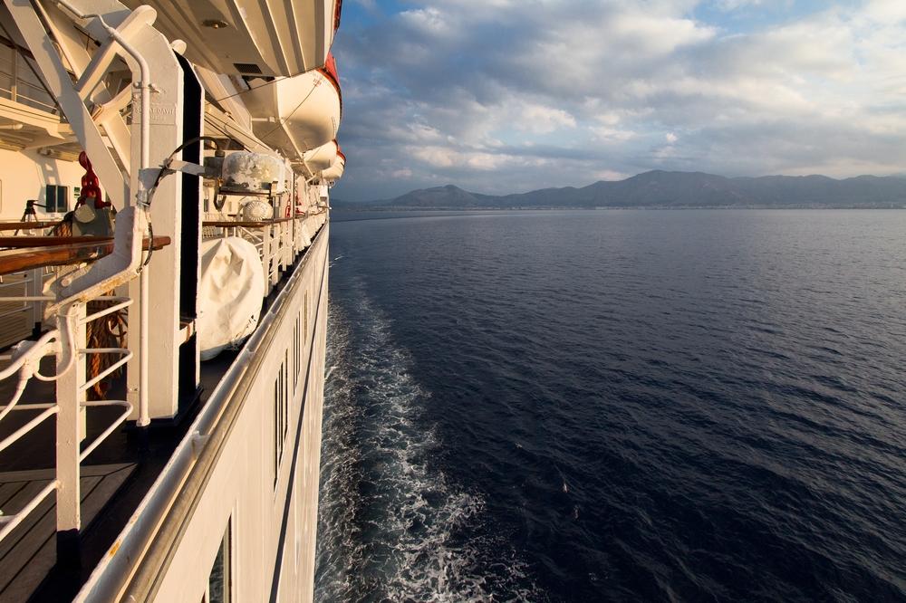 Steuerbord Seite MS Astor Sonnenuntergang