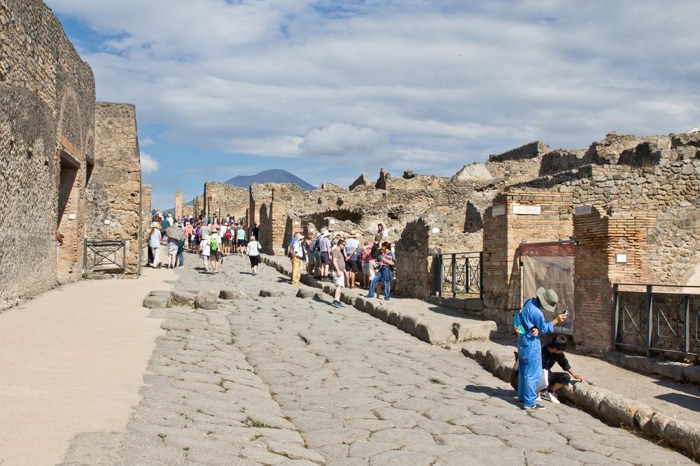 Pompeji Straße Zebrastreifen Überquerung