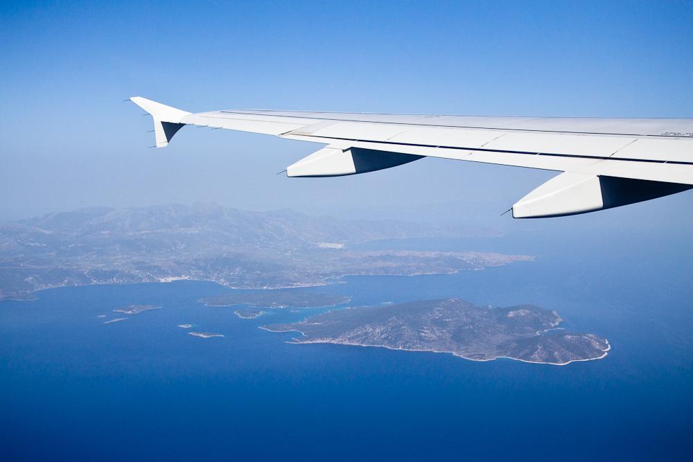 Aegean Airlines Mittelmeer Flügel Griechische Insel