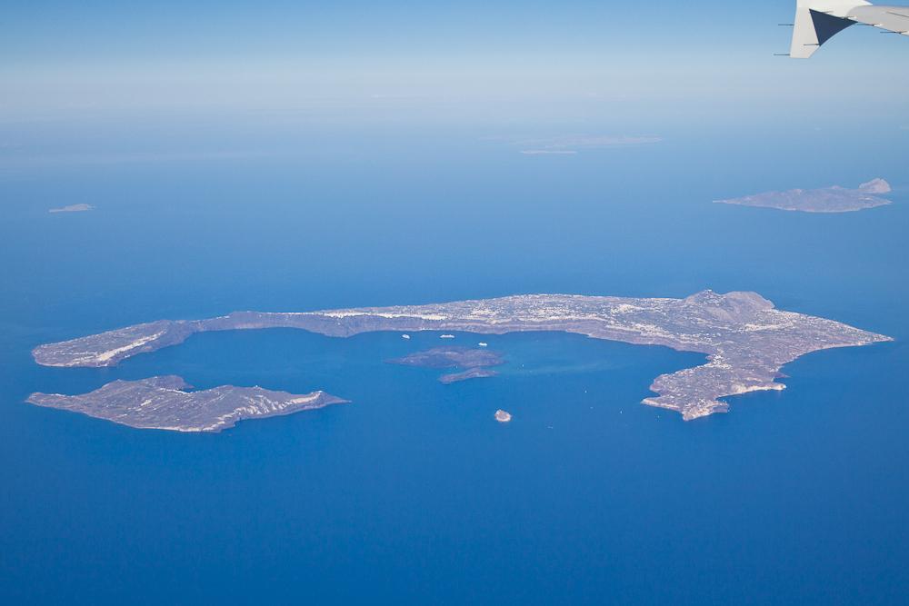 Santorin Luftbild Luftaufnahme Aegean Airlines