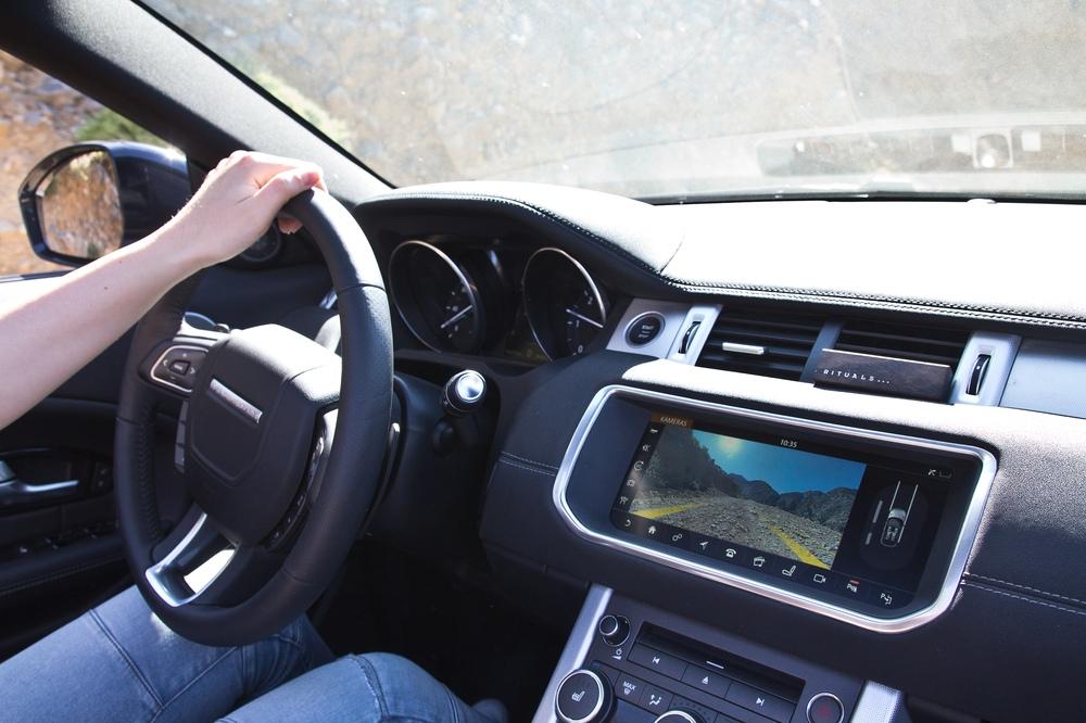 Cockpit Wasserdurchfahrt Wasser Spritzen Land Rover Range Rover Evoque Cabrio SUV