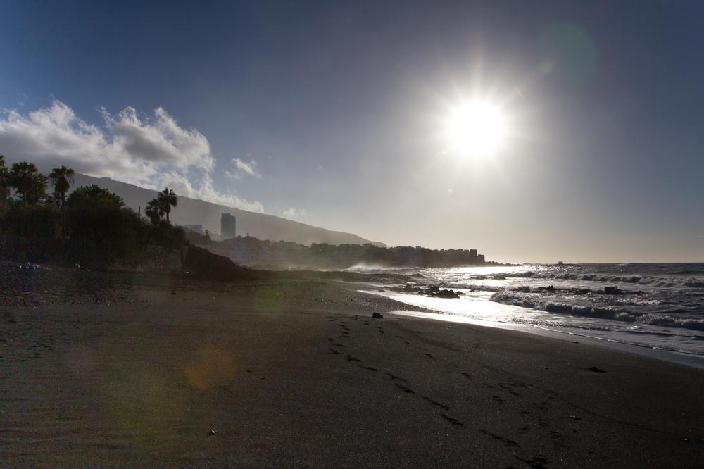 Teneriffa Puerto Cruz Strand Sonnenuntergang Reise