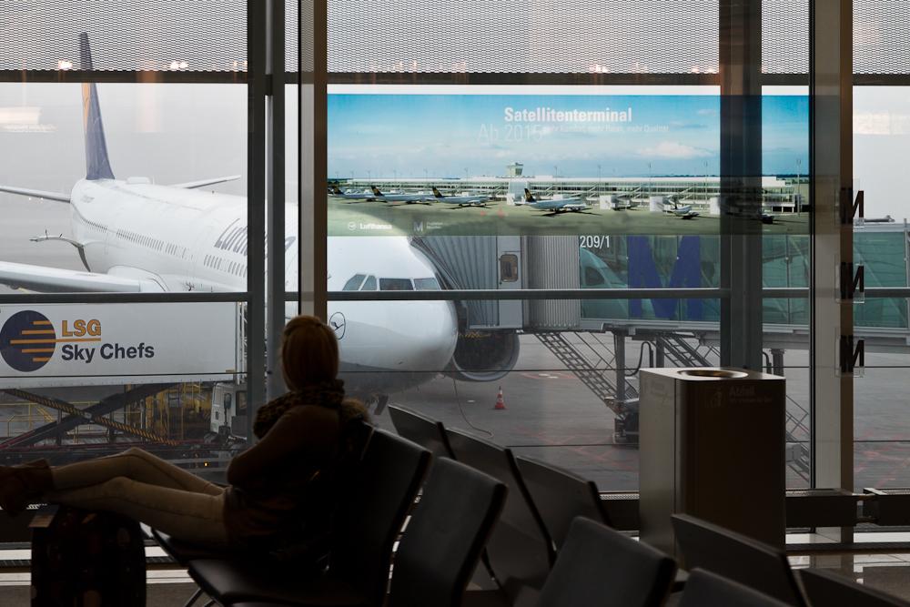 Reisebericht Oslo - Werbung für neues Satellitenterminal am Flughafen München