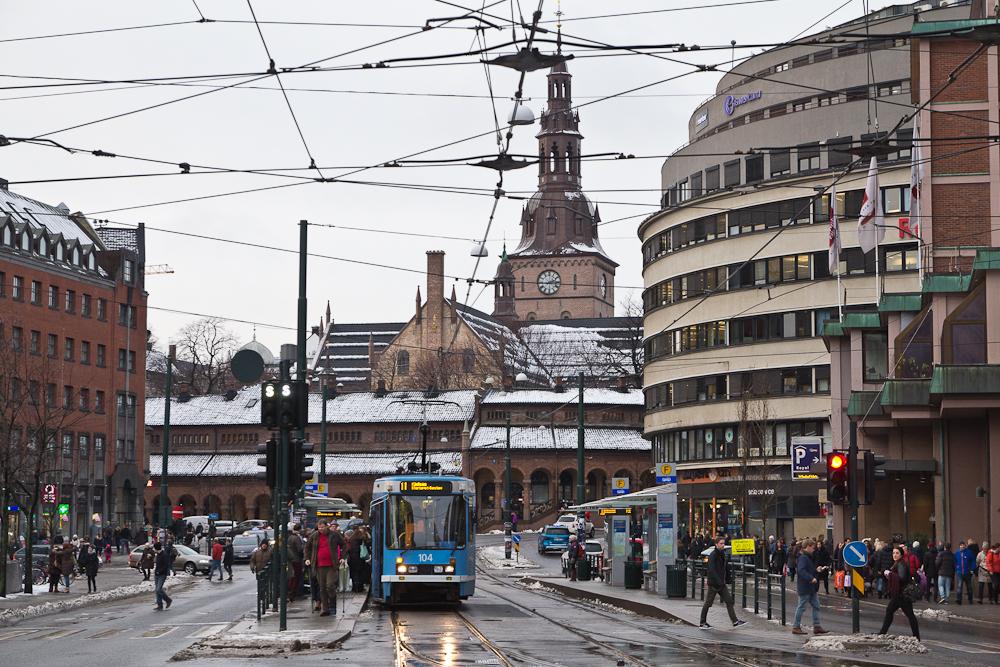 Tram in der Innenstadt von Oslo