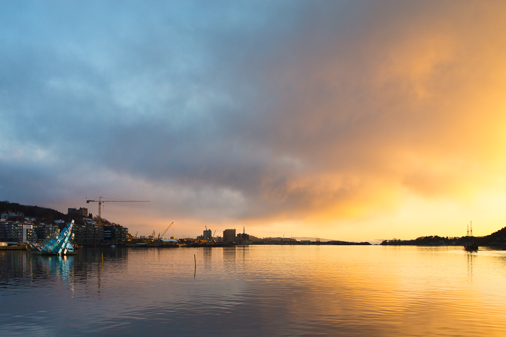 Sonnenuntergang Oslo Hafen
