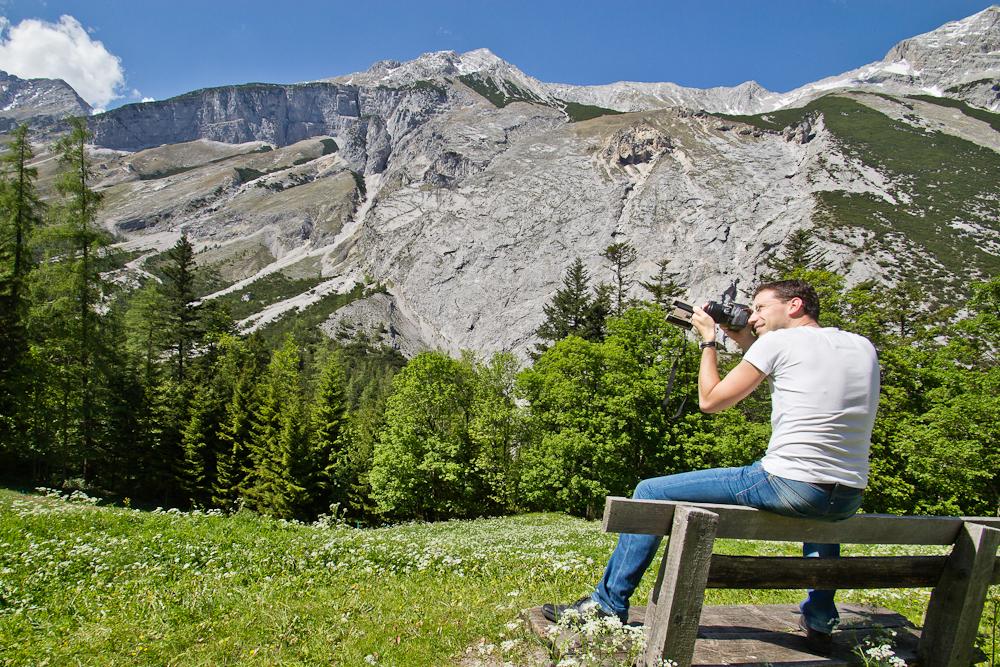 Fernglas mit Spiegelreflexkamera Karwendel