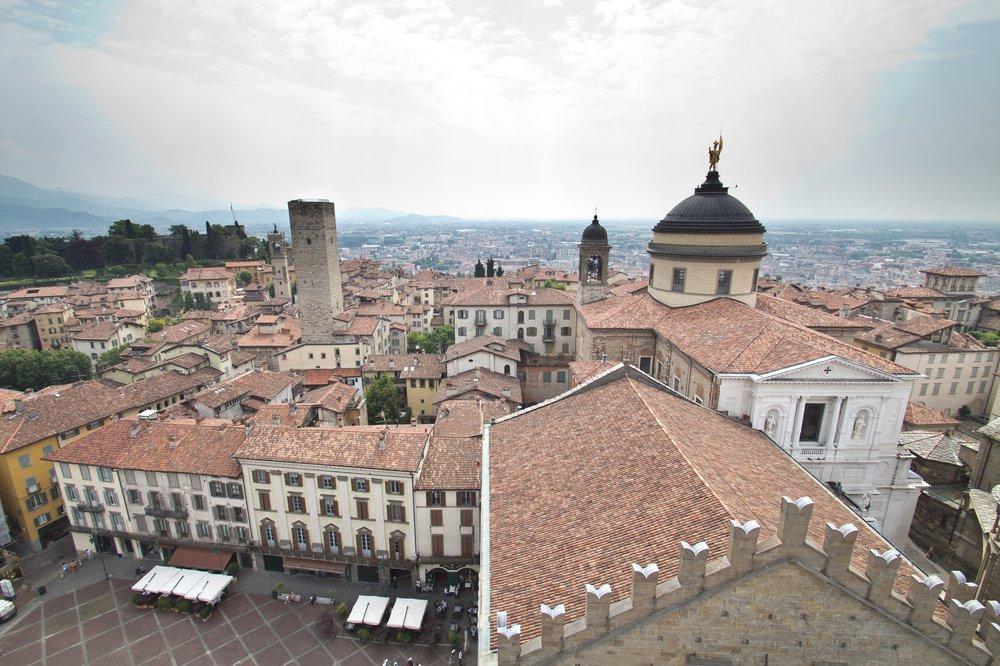 Aussicht Overview Campanone Bergamo Citta Alta