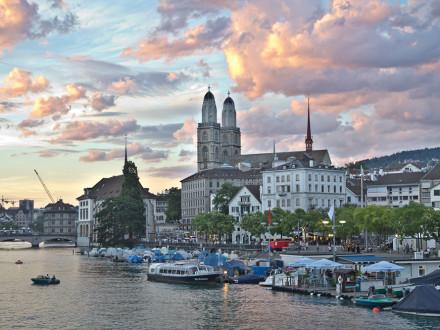 Grossmünster Zürich Kathedrale Sonnenuntergang