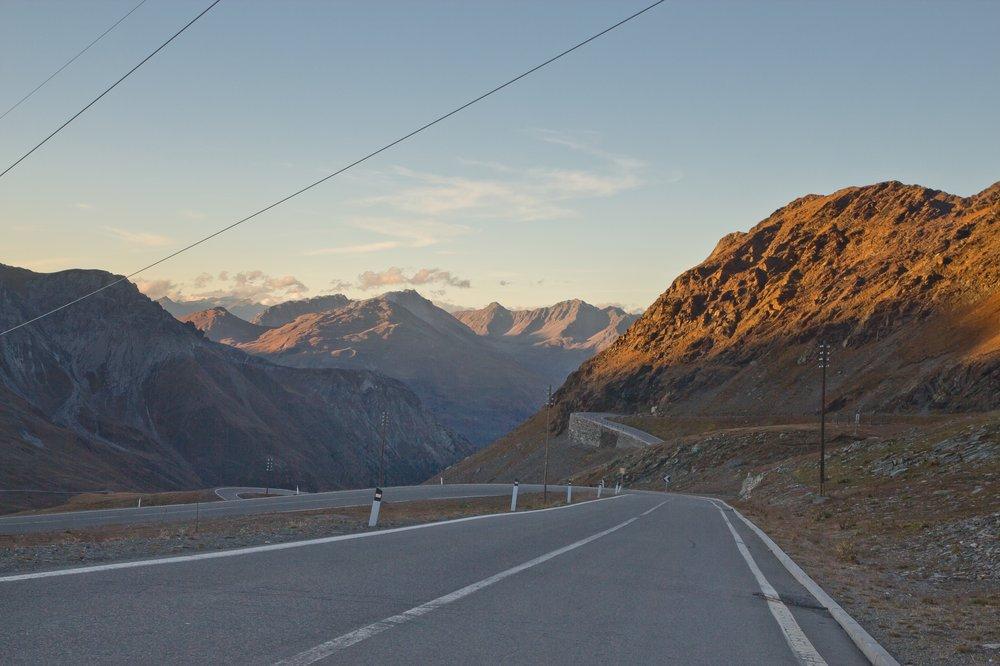 Stilfser Joch Pass Sonnenuntergang