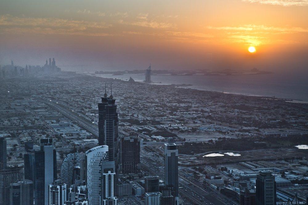 Burj Khalifa Sicht Sonnenuntergang