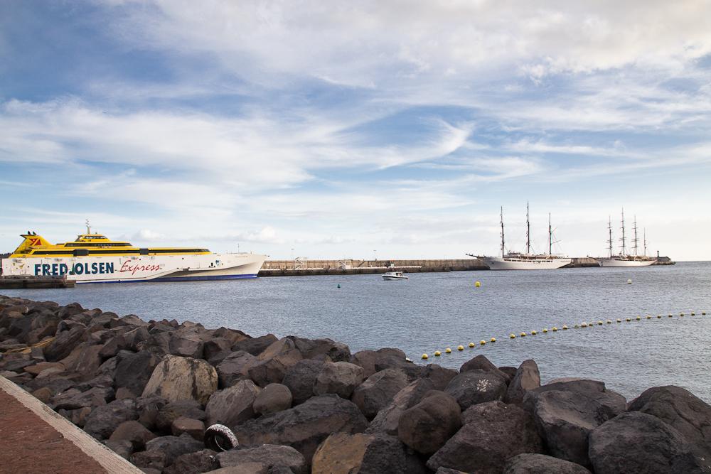 Sea Cloud I und Sea Cloud II im Hafen von La Gomera