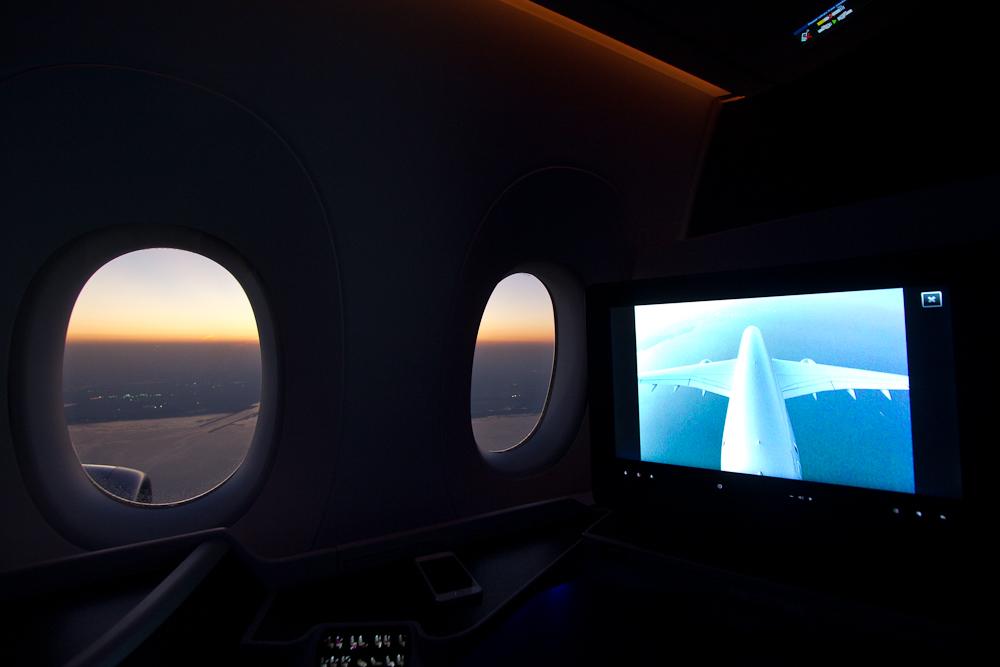 Kamera Landung Doha Qatar Airways A350