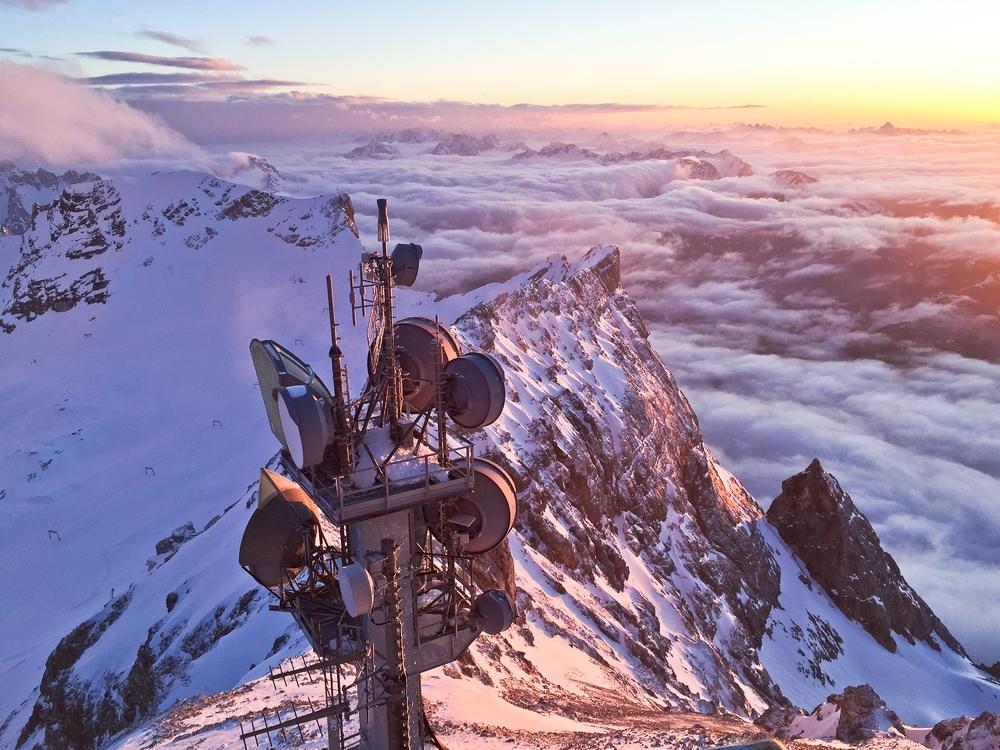 Zugspitze Gipfel Sonnenuntergang