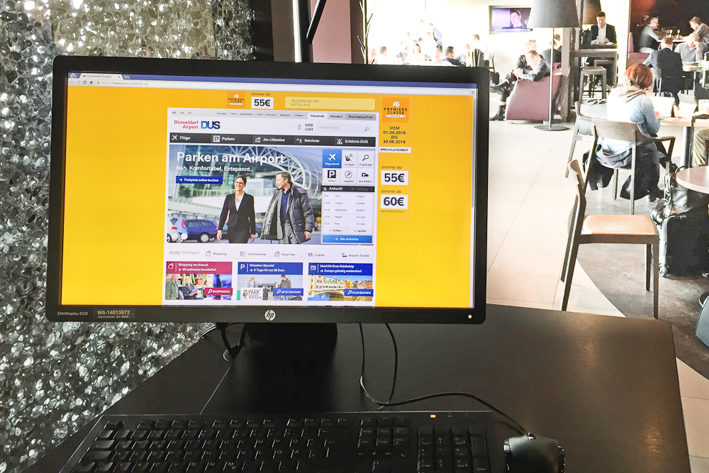 Hugo Junkers Lounge Flughafen Düsseldorf Computer PC Laptop