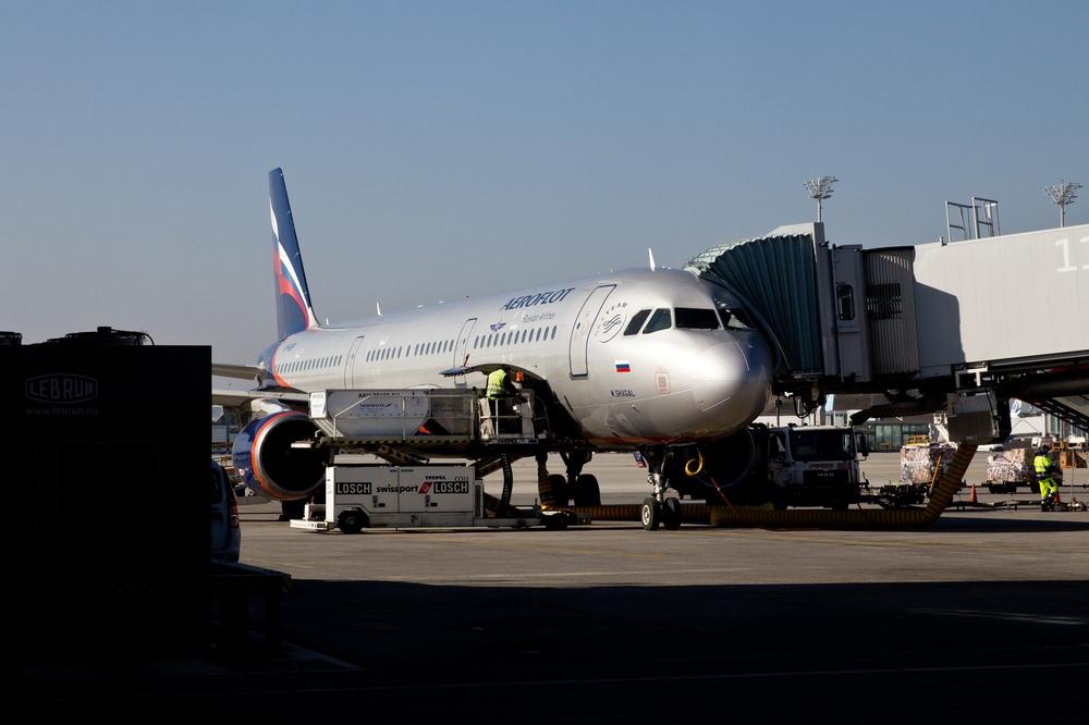 Aeroflot Maschine Gate Flughafen München