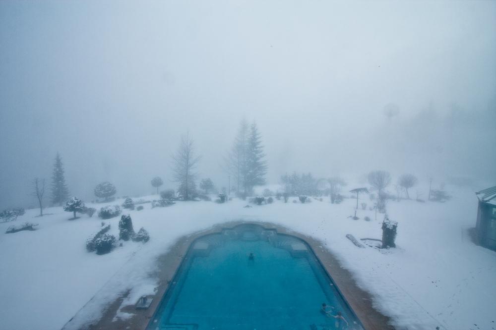 Außenpool Outdoor Pool Schnee Interalpen-Hotel Tyrol