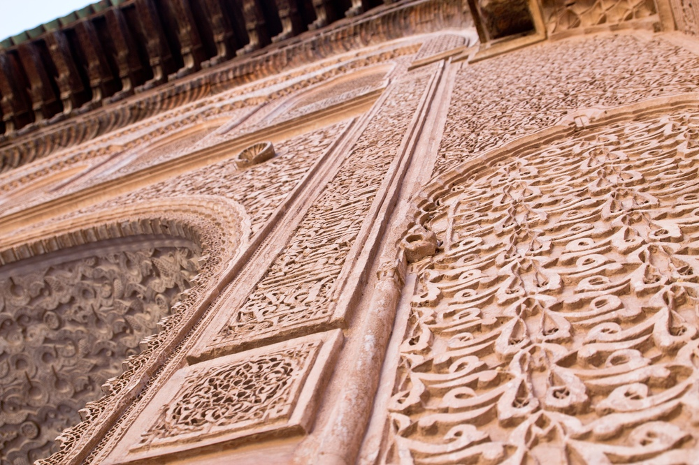Detail Mauer Relief Medersa Ben Youssef Marrakesch