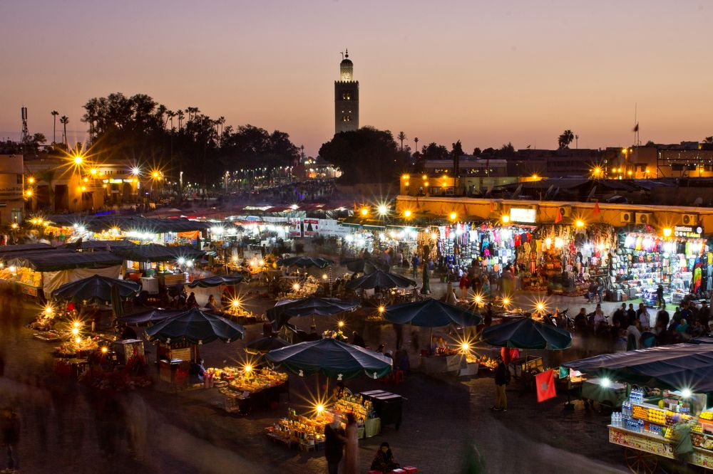 Marrakesch Marokko Nacht Foto Jeema el Fna Platz Sunset Sonnenuntergang