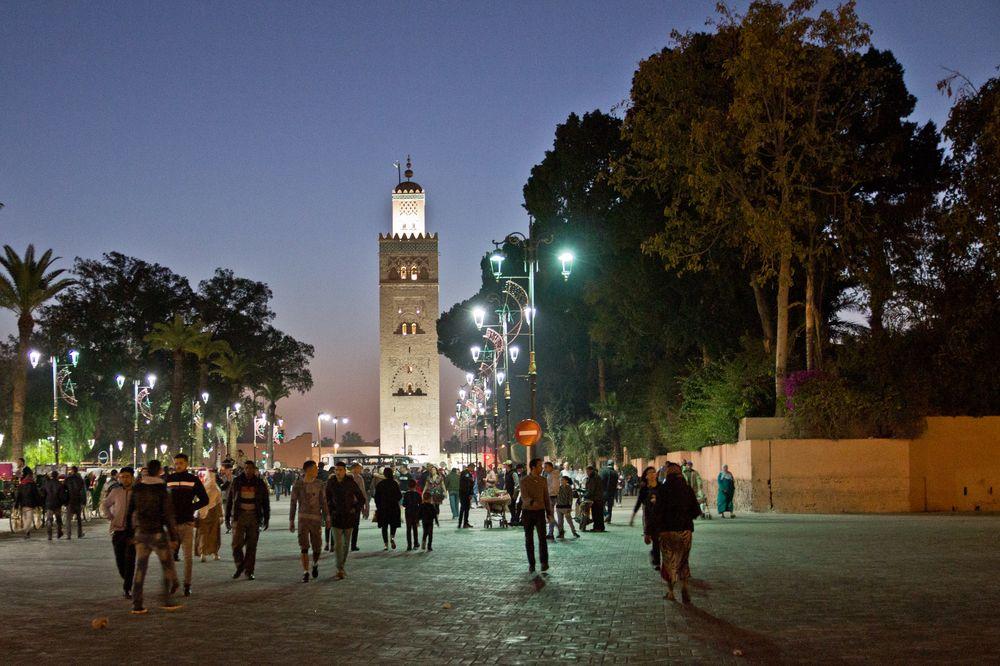 Marrakesch Marokko Nacht Foto Koutoubia Moschee Platz Sunset Sonnenuntergang